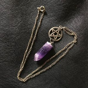 Jewelry - Amethyst Point Pendant w Pentacle Charm Necklace
